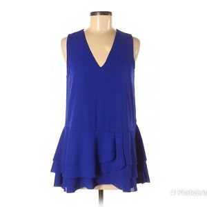 BANANA REPUBLIC Blue Peplum Top Sleeveless V-Neck